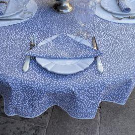 """Nappe ronde en coton """"Ondine"""" gris et écru Tissus Toselli"""