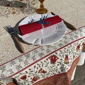 "Rectangular Jacquard tablecloth ""Aubrac"" ocre, Tissus Toselli"
