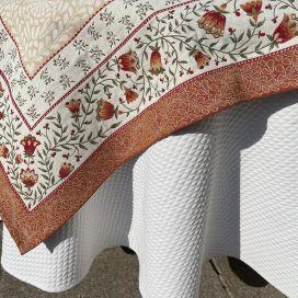 "Square Jacquard tablecloth ""Aubrac"" ocre, Tissus Toselli"