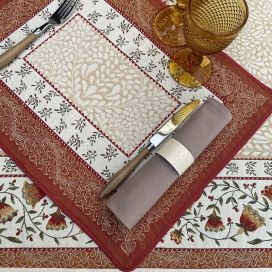 """Provence Jacquard placemat """"Aubrac"""" ocre from Tissus Toselli in Nice"""