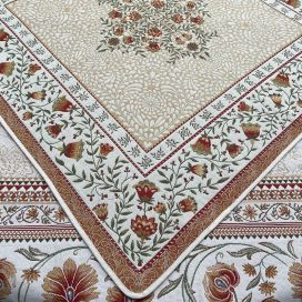 """Webbed square table mat """"Aubrac"""" ocre from Tissus Toselli"""