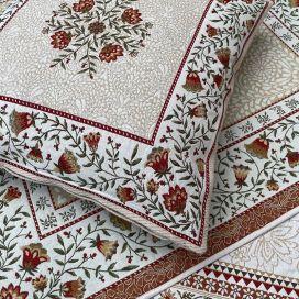 "jacquard cushion cover ""Aubrac"" ocre Tissus Tosseli"