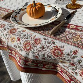 "Rectanuglar Jacquard tablecloth  ""Mazan""ocre  by Tissus Toselli"