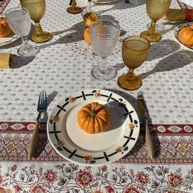 """Square Jacquard tablecloth  """"Mazan""""ocre  by Tissus Toselli"""
