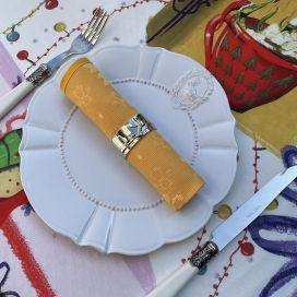 """Serviette de table damassée """"Delft"""" jaune or"""