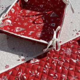 """Coated cotton bread basket with laces """"Cervin"""" red"""
