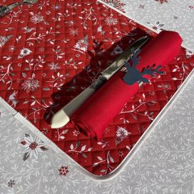 """Quilted cotton placemat """"Cervin"""" red"""