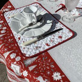"""Set de table en coton matelassé """"Cervin"""" gris et rouge"""