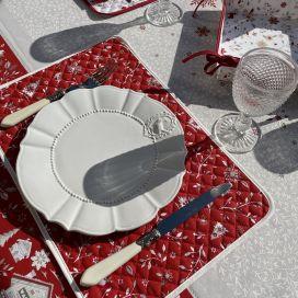 """Set de table en coton matelassé enduit """"Cervin"""" rouge"""