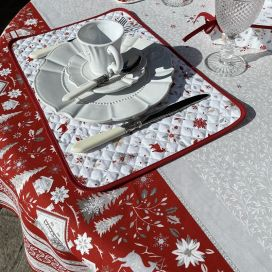 """Coated quilted placemat in cotton """"Cervin"""" grey and red"""