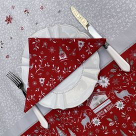 "Cotton table napkins ""Cervin"" red"