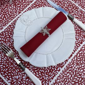 """Quilted cotton placemat """"Ondine"""" red"""