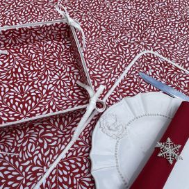 """Coated cotton bread basket with laces """"Ondine"""" red"""