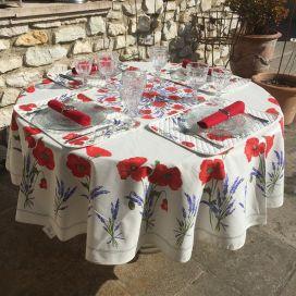 Nappe provençale  ronde en coton enduit Coquelicots et Lavandes, TISSUS TOSELLI