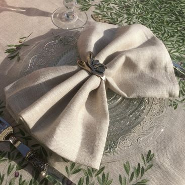 Tessitura Toscana Telerie, serviette de table en lin crème
