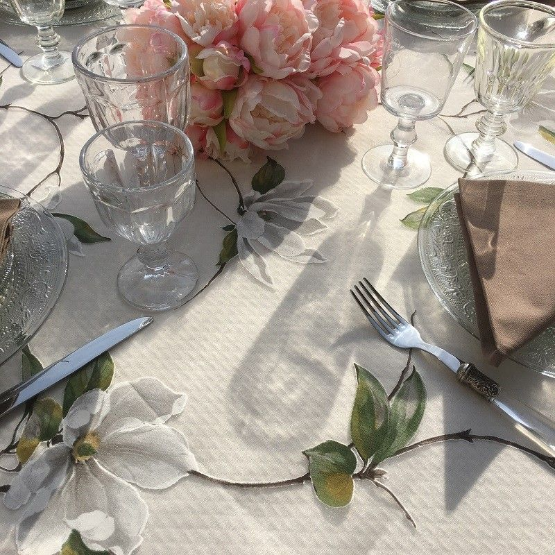 """Voile de table en Organza """"Magniola"""" Blanc"""