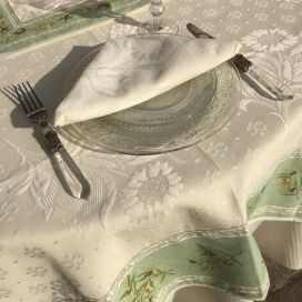 "Rectangular damask Jacquard tablecloth Delft, bordure ""Clos des Oliviers"" green"