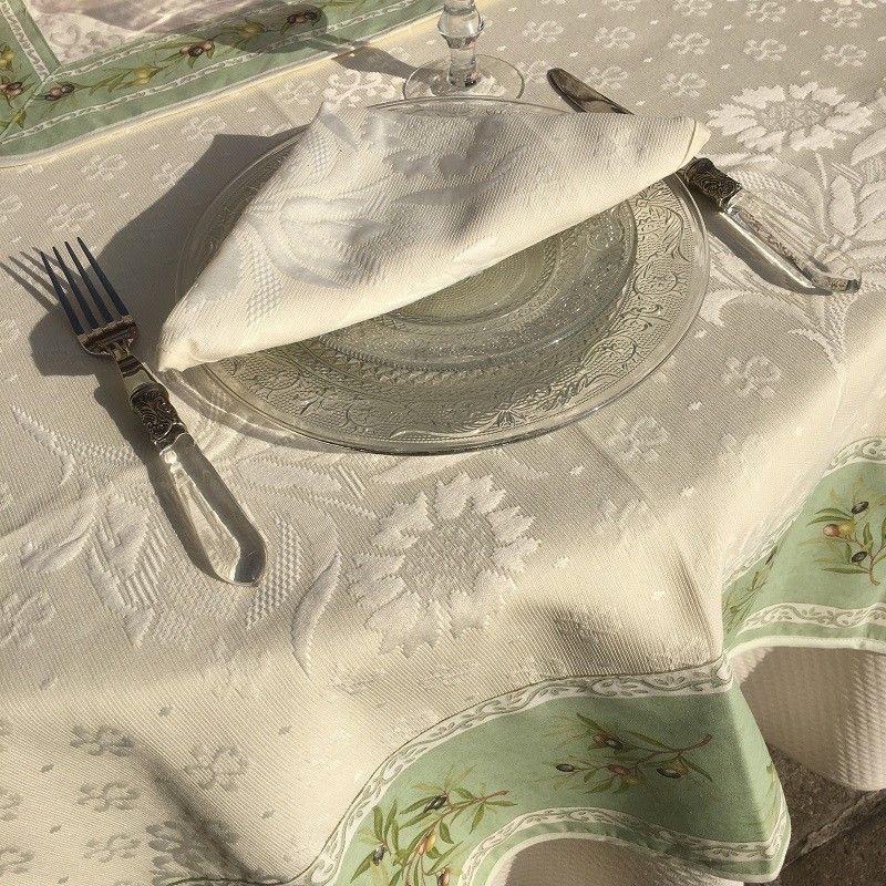 """Jacquard tablecloth  : Delft, bordure """"Clos des Oliviers"""" green"""