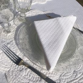 Serviette de table damassée blanche