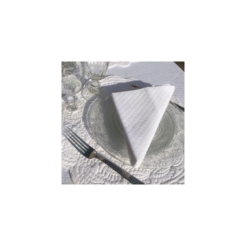 Damask table napkin white