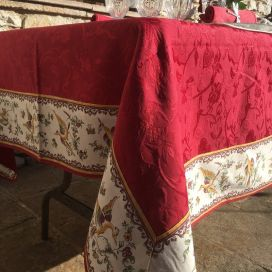 "Rectangular damask jacquard tablecloth Delft red, bordure ""Moustiers"" red"