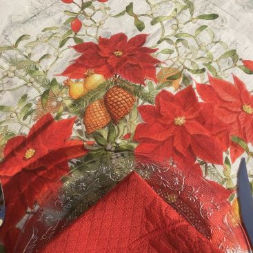 """Damasked  table napkin """"Cigale"""" red"""