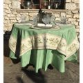 "Rectangular damask Jacquard tablecloth Delft green, bordure ""Clos des Oliviers"" ecru"
