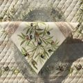 """Rectangular damask jacquard tablecloth Delft green, bordure """"Clos des Oliviers"""" ecru"""
