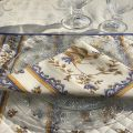 "Damask Jacquard Tablecloth ""Delft"" off white, bordure ""Moustiers"" blue"