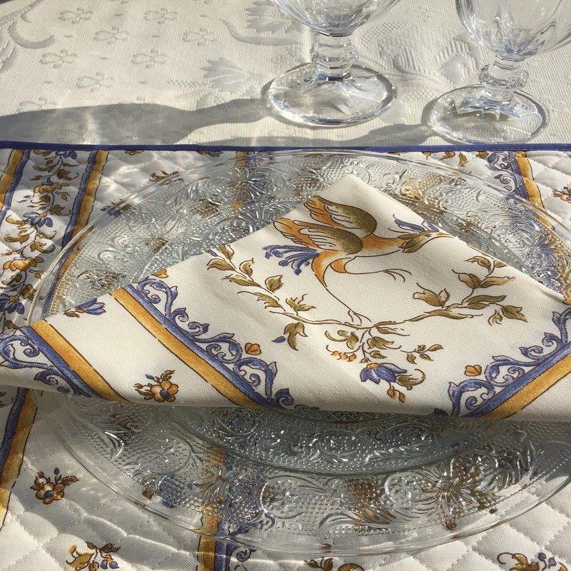 "Rectangular damask Jacquard tablecloth Delft ecru, bordure ""Moustiers"" blue"