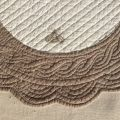 SUS ETOFFE, round table mats, Boutis fashion, MAYA, Off-white and linen color