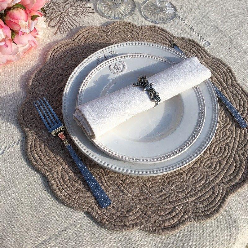 """Set de table rond en Boutis """"Lavande"""", écru et lin"""
