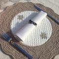 SUS ETOFFE, round table mats, Boutis fashion, blue