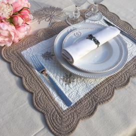 "Rectangular table mats, Boutis fashion ""Lavande"", Off-white and linen color, Sud-Etoffe"