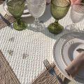 SUD ETOFFE, Chemin de table en Boutis MAYA, écru et lin