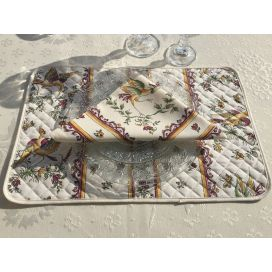 "Quilted cotton placemat ""Moustiers"" red"