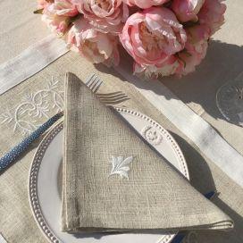 """Set de table lin et polyester """"Coeurs brodés"""" lin bordure blanc"""