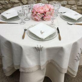 """Nappe lin et polyester """"Lavandes brodéés"""" blanche et bordure lin"""