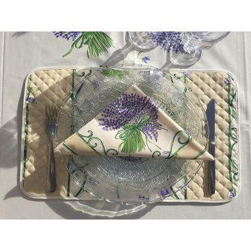 """Set de Table en  coton  matelassé  """"Bouquet de Lavande"""" ecru"""