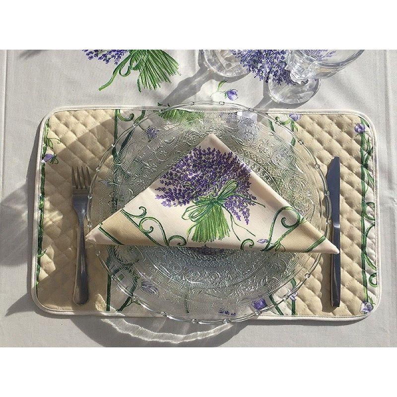 """Quilted cotton placemat """"Bouquet de Lavande"""" ecru"""