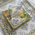 Paper napkins holder DIAMONT, silvery metal and glass plate