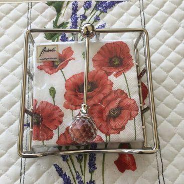 Paper napkins holder, DIAMOND, silvery metal