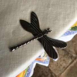 "Silvery metal tablecloth pliers ""Dragonfly"" Sud Etoffe"