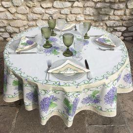 """Nappe provençale ronde en coton """"Bouquet de Lavande"""" Ecru, TISSUS TOSELLI NICE"""