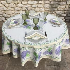 "Provencale round tablecloth in cotton ""Bouquet de Lavande"" Off-white, TISSUS TOSELLI NICE"