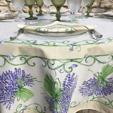"TISSUS TOSELLI, Round coated cotton tablecloth ""Bouquet de Lavandes"" Off-White"