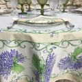 "Provence round coated cotton tablecloth ""Bouquet de Lavandes"", TISSUS TOSELLI NICE Off-White"
