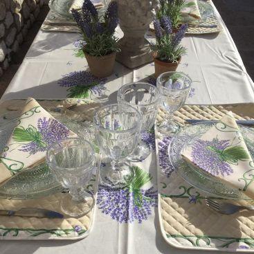 """Provence rectangular placed coton tablecloth """"Bouquet de Lavande"""" ecru"""
