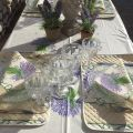 "Provence rectangular placed cotton tablecloth ""Bouquet de Lavande"" Off white by TIssus Toselli, Nice"