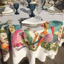 "Tessitura Toscana Tellerie, rectangular linen tablecloth ""KAKTUS"""